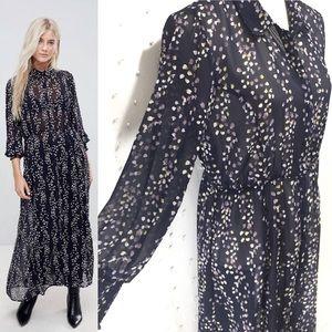 ONLY Ditsy Printed Maxi Shirt Dress Sz 8 ASOS